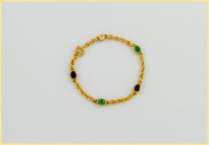 Saphir-Smaragd-Brillant-Armband 18 Karat Gelbgold