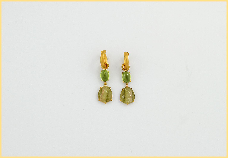 Turmalinohrringe 18 Karat Gelbgold